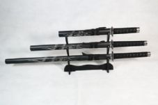 Set of 3 Carved Dragon Samurai Swords on Stand (WEBSITE EXCLUSIVE)